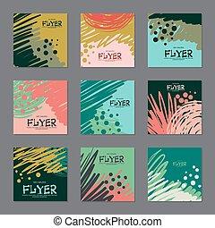 ensemble, résumé, hand-drawn., sombre, vecteur, couleurs, cartes, ton, design.