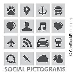 ensemble, résumé, isolé, symboles, pictograms, social