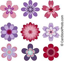 ensemble, résumé, isolé, vecteur, 9, fleurs