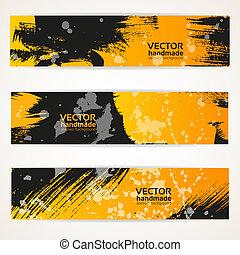 ensemble, résumé, jaune, vecteur, noir, bannière, handdraw