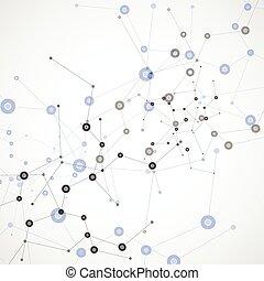 ensemble, résumé, molécule, vecteur, fond, blanc