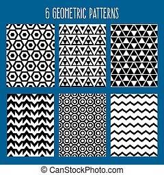 ensemble, résumé, pattern., seamless, illustration, arrière-plan., vecteur, backgrounds., géométrique