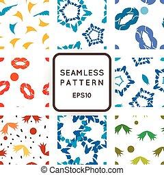ensemble, résumé, seamless, motifs, vecteur, neuf