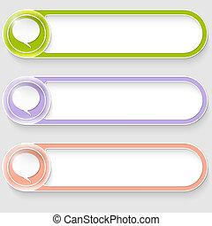 ensemble, résumé, trois, boutons, vecteur, bulle discours