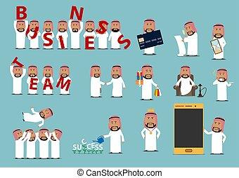 ensemble, réussi, caractère, arabe, homme affaires, dessin animé