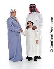 ensemble, races, famille, deux, musulman