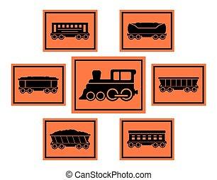 ensemble, rail, route rouge, icônes