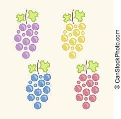 ensemble, raisin, tas, coloré