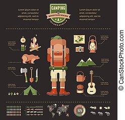 ensemble, randonnée, camping, -, équipement, infographics, icône
