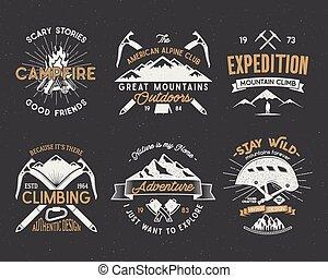 ensemble, randonnée, expédition, isolated., conception, montagne, style, elements., vendange, isolé, désert, retro, montagnes blanches, étiquettes, escalade, letterpress, pièces, logos, silhouettes, vecteur, emblèmes