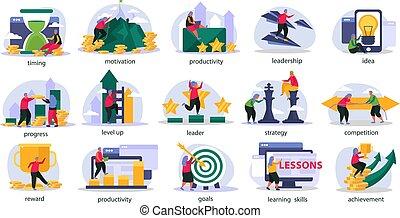 ensemble, recolor, icônes, gamification, business