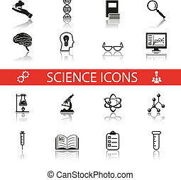 ensemble, reflet, icônes, simple, science, isolé, recherche, symboles, vecteur