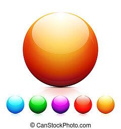 ensemble, reflet, sphères, blanc, brillant, backgro, coloré
