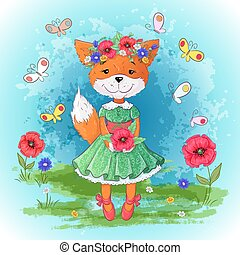 ensemble, renard, illustration, main, flowers., vecteur, dessin