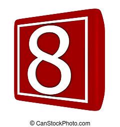 ensemble, render, numéro 1, 8, police, 3d