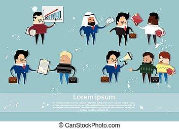 ensemble, ressource, professionnels, communication, mélange, course, humain, réunion, dessin animé
