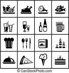 ensemble, restaurant, nourriture, vecteur, noir, icône