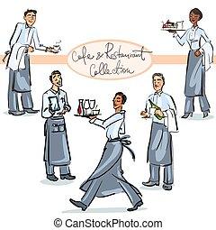 ensemble, restaurant, -, scènes, collection, main, 1, dessiné, café