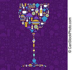 ensemble, restaurant, verre, forme, icône, vin