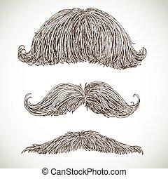 ensemble, retro, moustache
