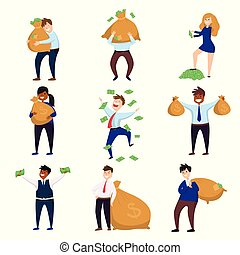 ensemble, richesse, argent, fond, isolé, millionnaire, caractères, blanc, apprécier, heureux