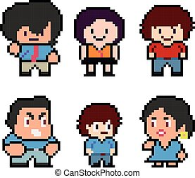 ensemble, rigolote, pixel, caractères