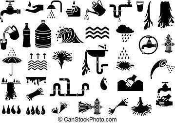 ensemble, robinet, gouttelette, sombrer, nuage, icônes, arrosage, -, waterfall), parapluie, prise eau, éléments, brûler, boîte, arrosez verre, (design, cuisine, douche, vecteur, pluie, tête