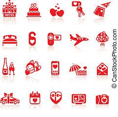 ensemble, romantique, valentine, icônes voyage, symboles, jour, rouges
