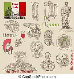 ensemble, -, rome, vecteur, conception, album, dessiné, main, doodles