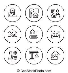 ensemble, rond, ligne, icônes, de, architectural