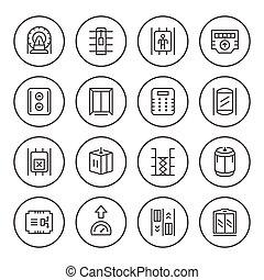 ensemble, rond, ligne, icônes, de, ascenseur