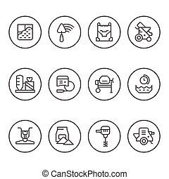 ensemble, rond, ligne, icônes, de, béton