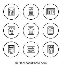 ensemble, rond, ligne, icônes, de, calculatrice