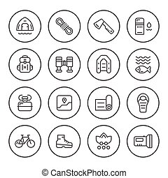 ensemble, rond, ligne, icônes, de, camping