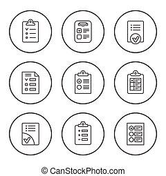 ensemble, rond, ligne, icônes, de, liste contrôle