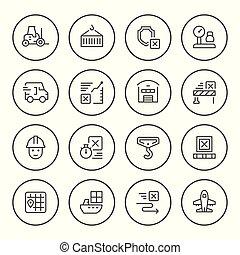 ensemble, rond, ligne, icônes, de, logistique
