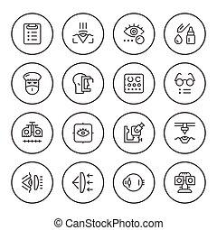 ensemble, rond, ligne, icônes, de, ophtalmologie
