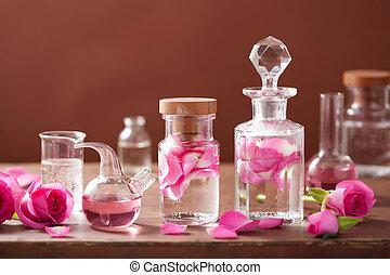 ensemble, rose, alchimie, aromathérapie, flacons, fleurs