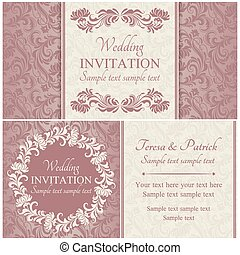 ensemble, rose, baroque, invitation mariage