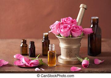 ensemble, rose, huiles, aromathérapie, mortier, spa, fleurs...
