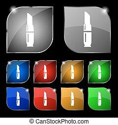 ensemble, rouge lèvres, dix, signe., glare., boutons, vecteur, coloré, icône