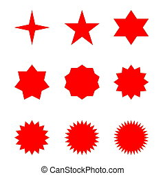 ensemble, rouges, étoiles