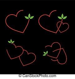 ensemble, rouges, logos, cœurs