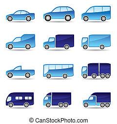 ensemble, route, transport, icône