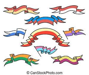 ensemble, rubans, dessin animé, coloré