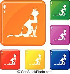 ensemble, séance, couleur, icônes, chat, vecteur
