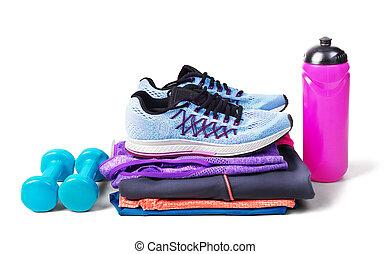ensemble, séance entraînement, isolé, femmes, fond, fitness, accessoires, blanc, habillement