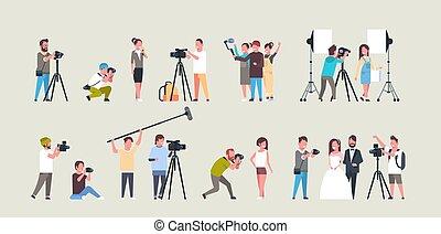 ensemble, séance, vidéo, pendant, tir, différent, fonctionnement, images, cameras, américain, plat, entiers, collection, photographes, caractères, cameramans, utilisation, horizontal, poses, prendre, longueur, africaine