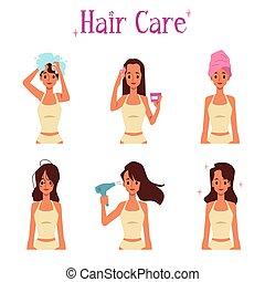 ensemble, sécher, climatiseur, routine, soin, cheveux, shampoing, demande, -, dessin animé, femme