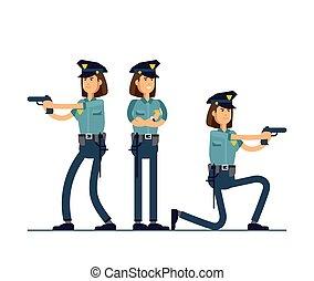 ensemble, sécurité, blanc, debout, isolé, public, officier, uniforme, vecteur, concept, character., femme, différent, illustration, caractères, arrière-plan., poses., policier